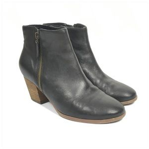 Crown Vintage Black Leather Heeled Ankle Boots